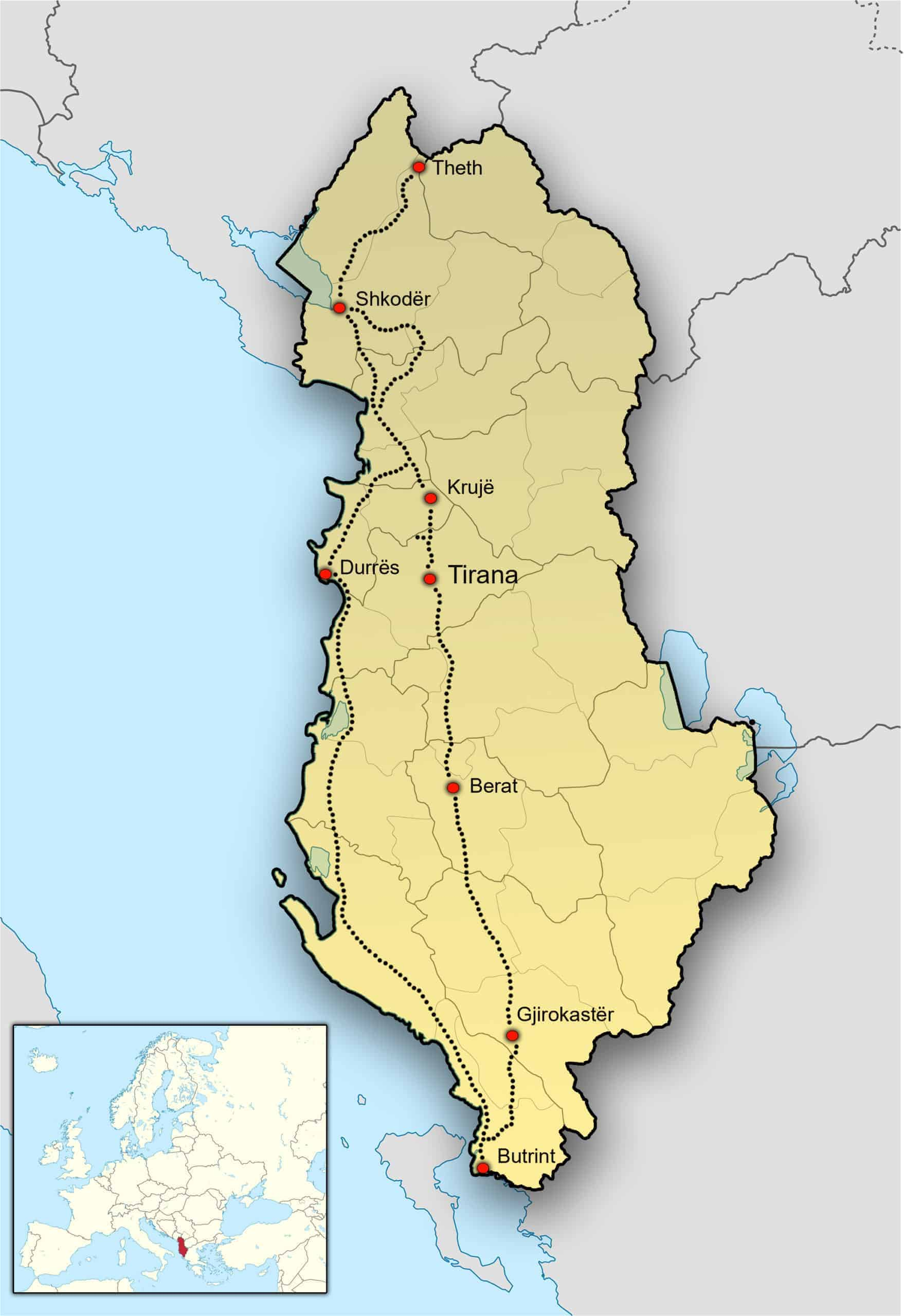 Kaart van Albanië