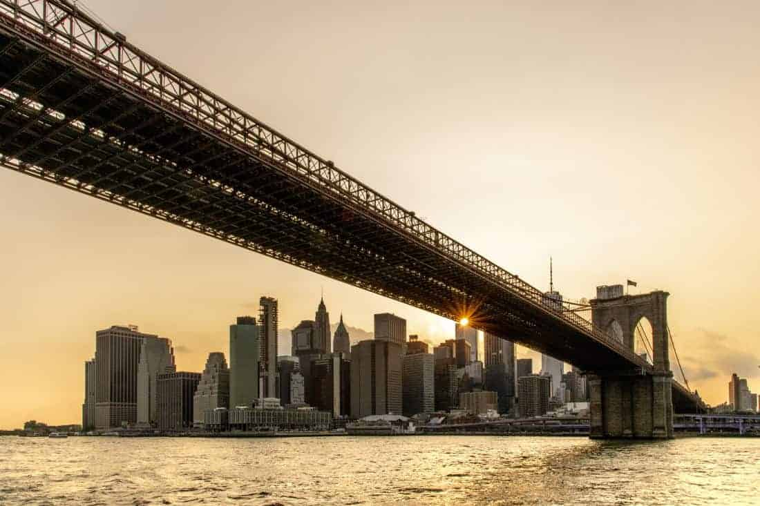 Fotoreis New York Brooklyn Bridge bij ondergaande zon