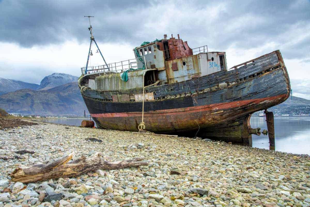 Fotoreis Schotland - Corpach Shipwrek met boomstronk