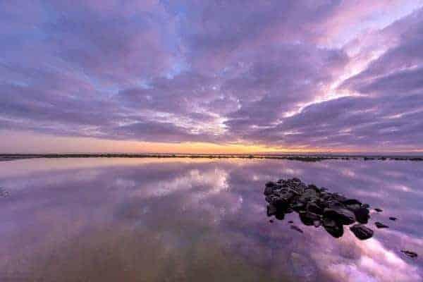 Fotoweekend Ameland paarse zonsondergang sunset beach