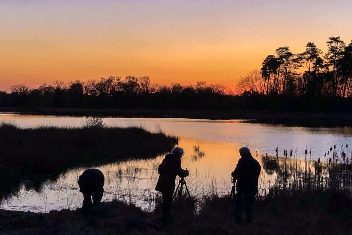 Fotoweekend Brabant deelnemers Kogelvangersven Kampina zonsondergang