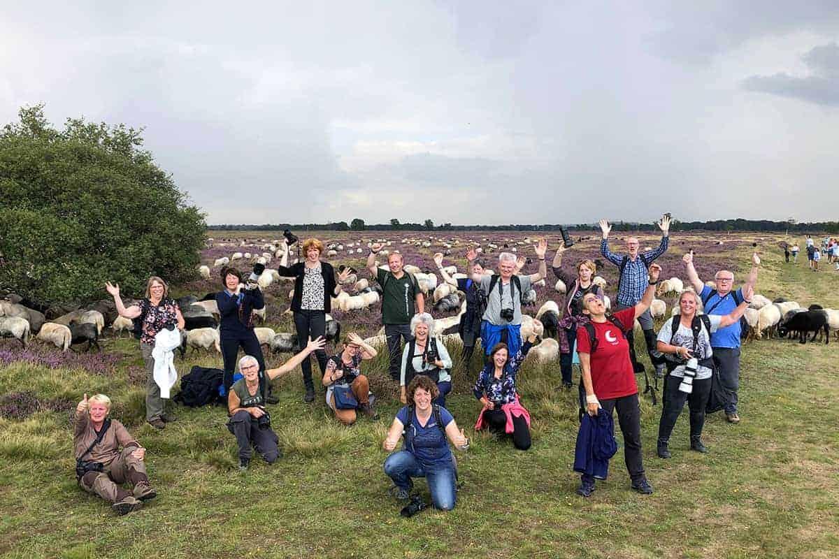 Fotoweekend Drenthe groepsfoto op het Balloer veld