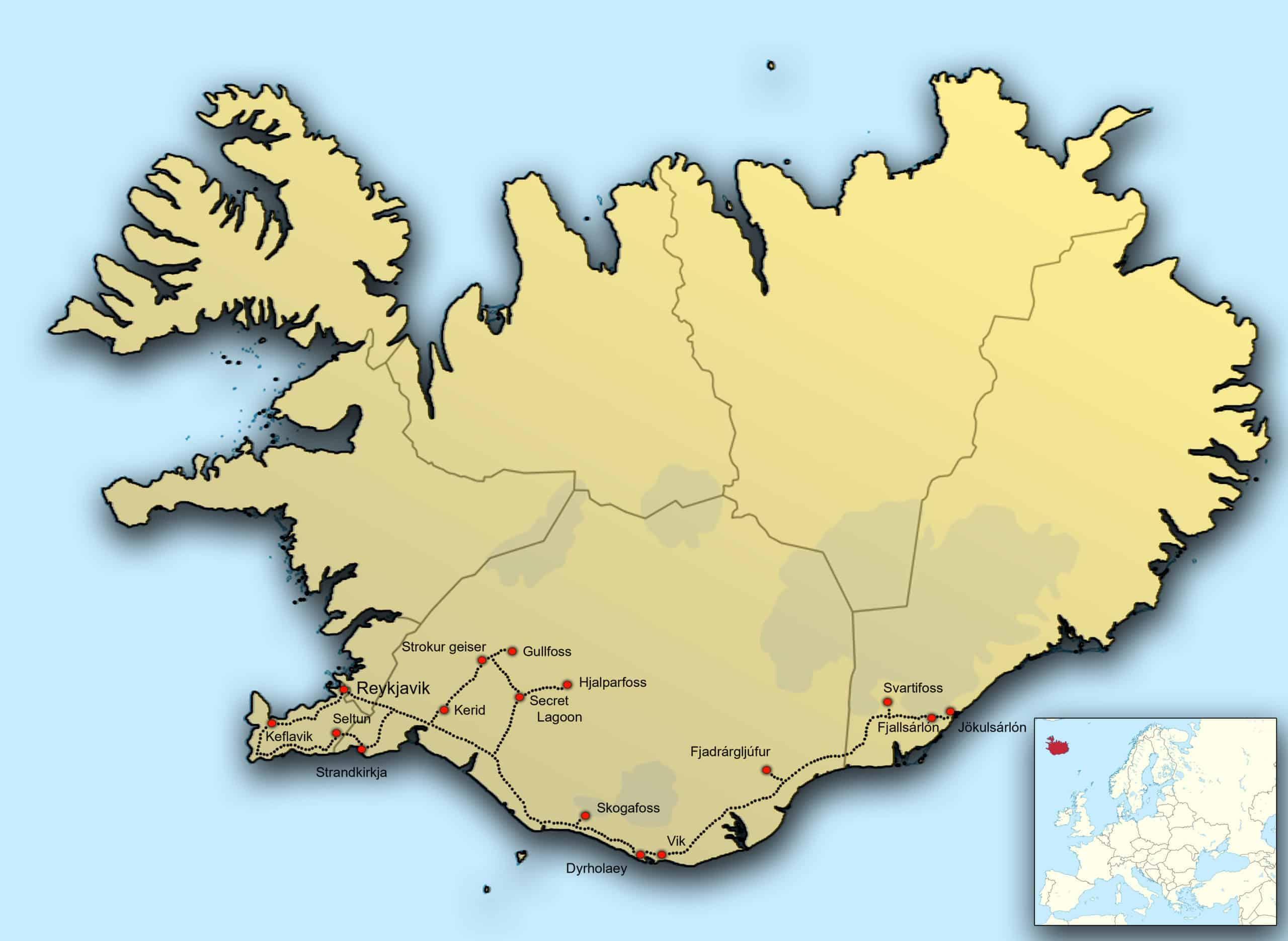 Kaart fotografiereis IJsland Noorderlicht