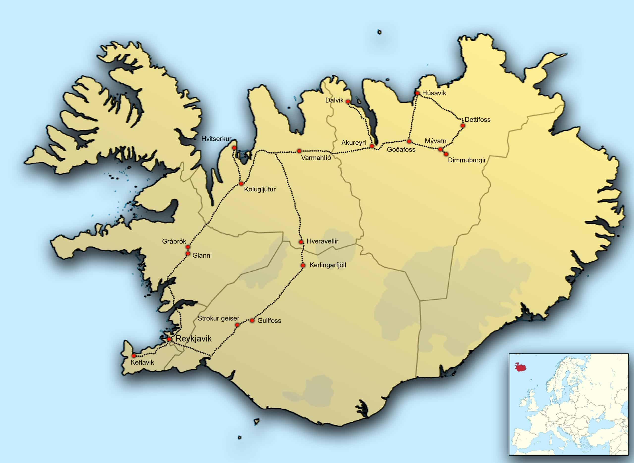 Kaart IJsland Zomer
