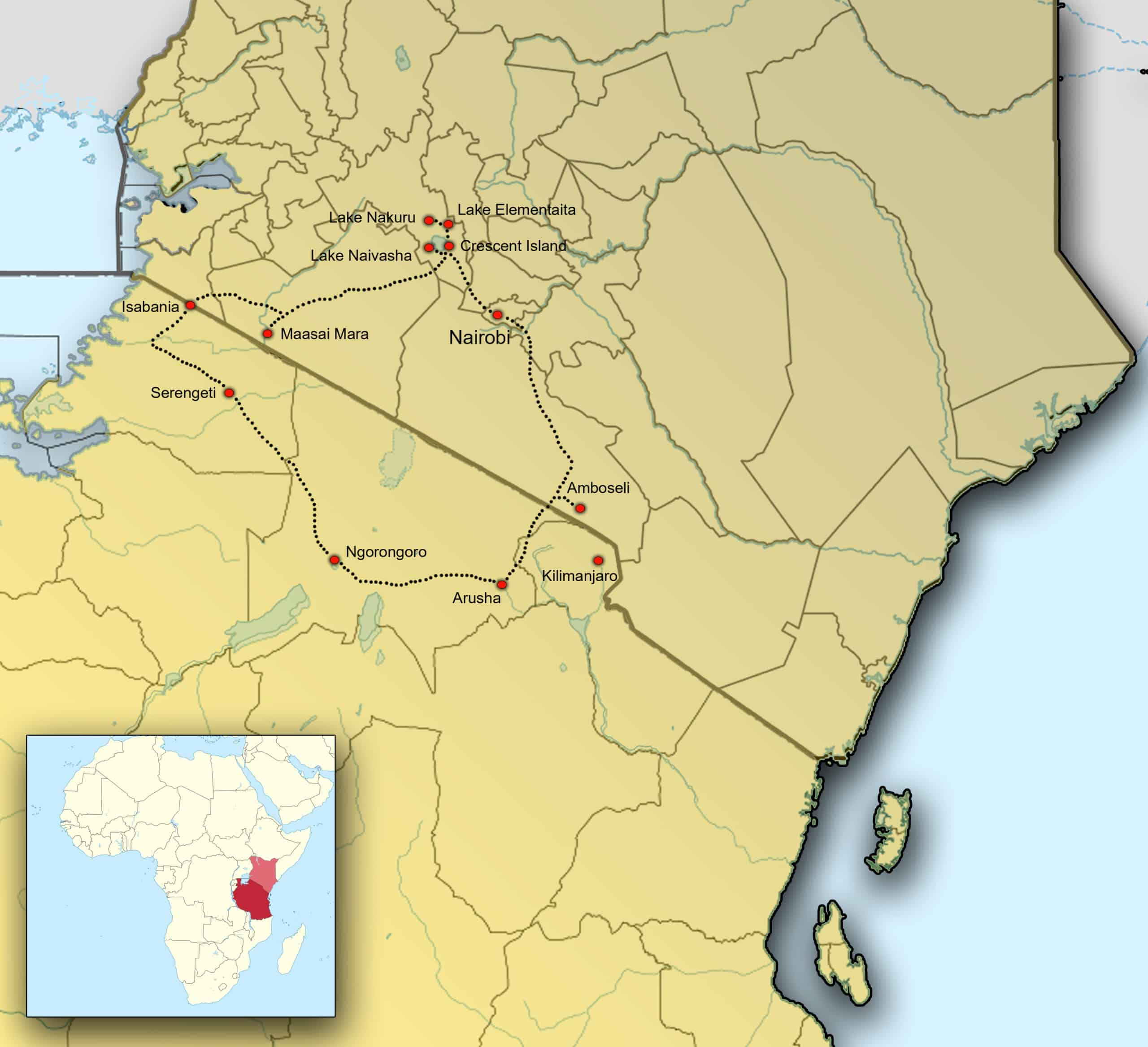 Kaart Fotografiereis Kenia en Tanzania