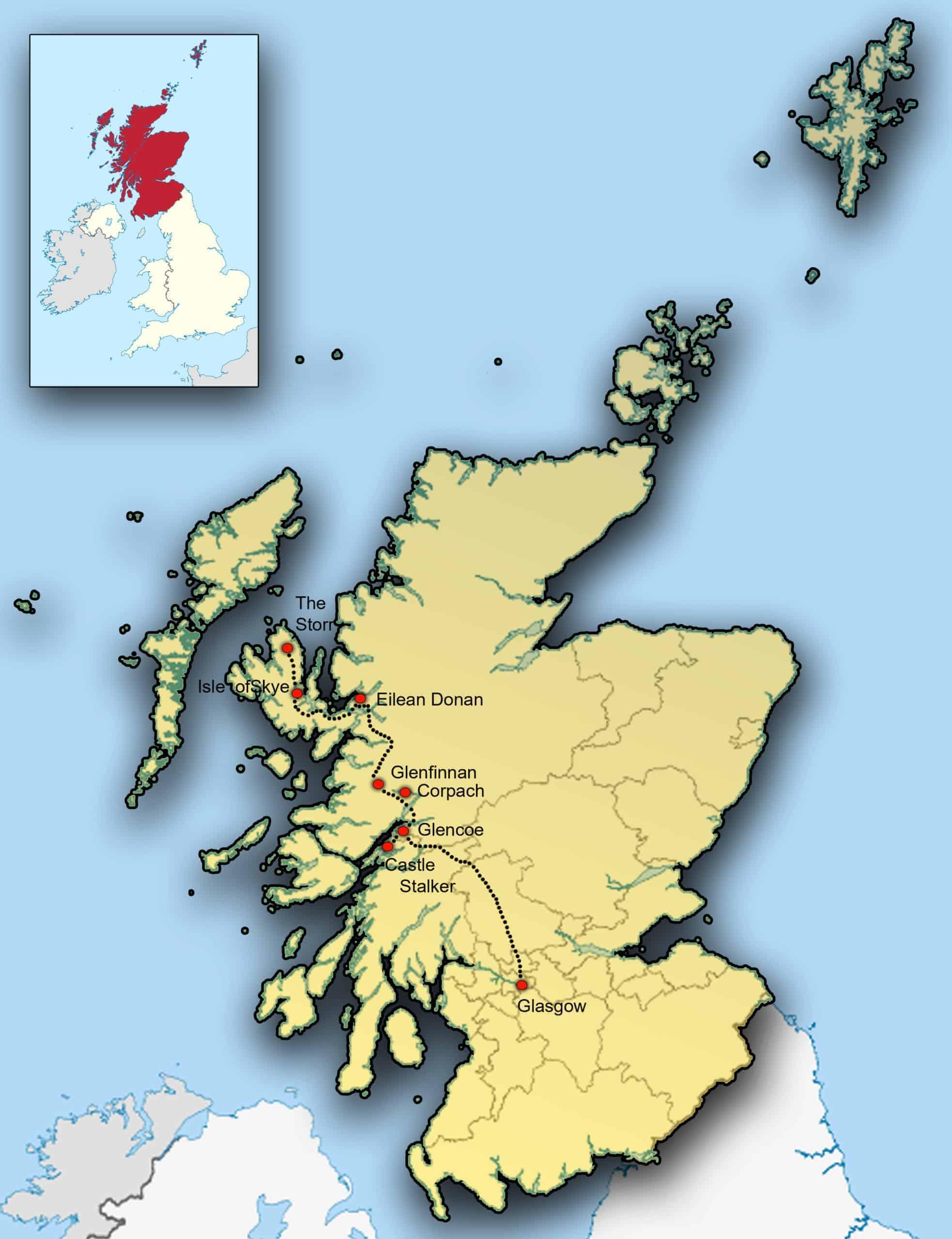 Kaart Schotland