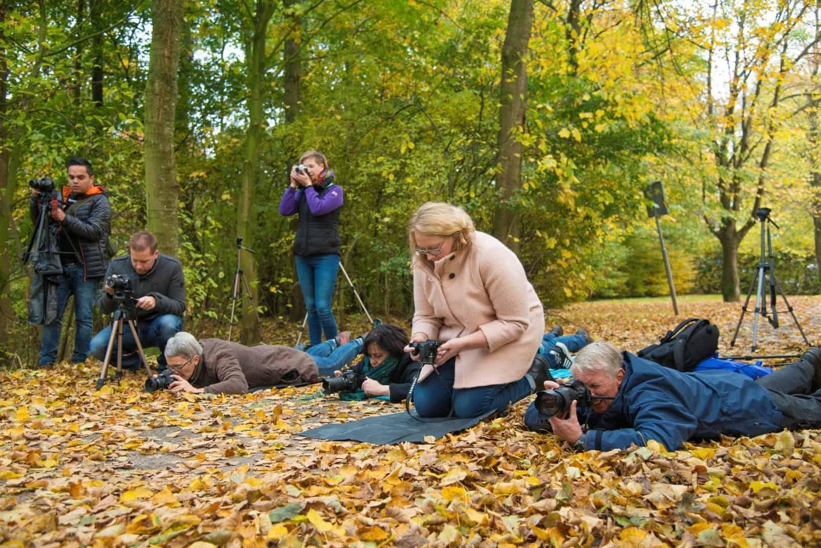 Deelnemers bezig Bruggetje Workshop Herfstfotografie